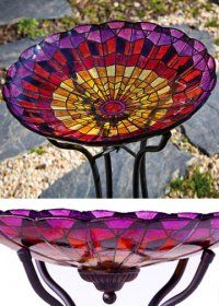 Azalea Stained Glass Birdbath [EG2GB102] Price: $62.25 Add Birdbath Stand with Solar Light . Site sells stands for $39.50 (low stand) & $49.95 (taller stand)