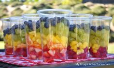 rainbow fruit cups, snack ideas for kids party, fruit cups ideas, kids birthday snacks, summer birthday ideas for kids