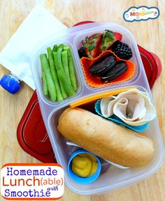 healthy homemade lunchable with smoothie