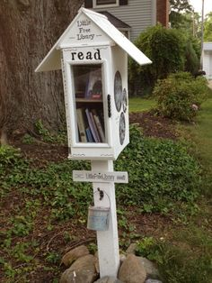 Kellie DuBay Gillis. Fairview Park, OH. Our Little Free Library was a family project, built in October 2013. We wanted it to be a place where folks could not only share books, but also leave messages. There are six big circles painted with chalkboard paint on the sides of the library and a bucket with chalk. We love it when visitors leave us messages about what they're reading or just to say Hi! This spring we had to add a shelf so we could hold more books!
