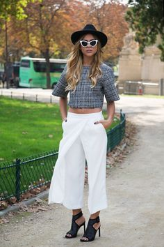 Paris Fashion Week street style trend: minimal cropped-style pants.