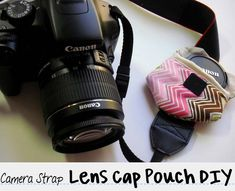punk projects: Camera Strap Lens Cap Pouch DIY
