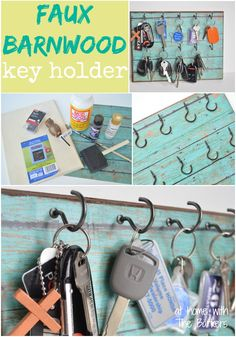 barnwood key, headband, key holder diy, keys diy holder, key holders, scrapbook paper, faux barnwood