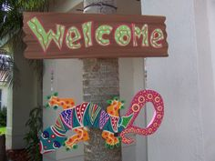 Tropical Gecko Lizard Iguana Welcome Wood Sign