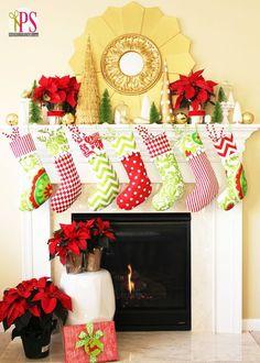 Red, Gold and Lime Christmas Mantel Decor #Christmas #mantel