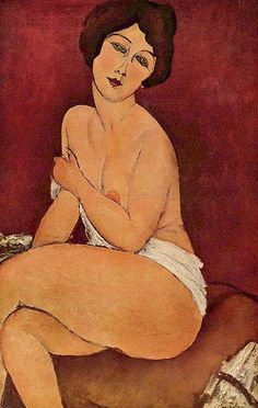 """Amedeo Modigliani (1884–1920)  Nu féminin  1917, Oil on canvas.  The Paris show of 1917 was Modigliani's only solo exhibition during his life, and is """"notorious"""" in modern art history for its sensational public reception and the attendant issues of obscenity."""