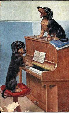 Singing together.