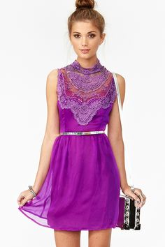 Lily Crochet Dress purple