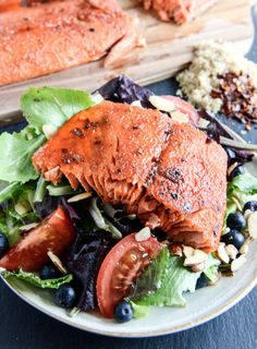 Broiled Spicy Brown Sugar Salmon | howsweeteats.com