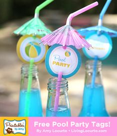 Free Printable Pool Party Tags by Amy at LivingLocurto.com