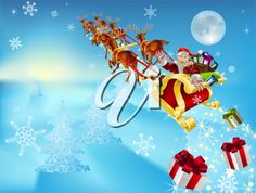 Royalty Free Clipart Image of Santa Claus Riding in His Sleigh