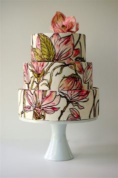 paint cake, hand painted cakes, flower cakes, painted flowers, wedding cakes