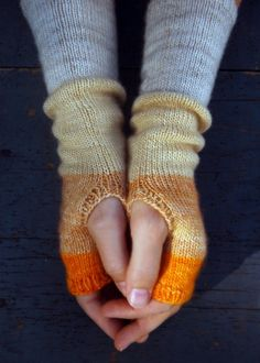 Free Knitting Pattern - Fingerless Gloves  Mitts: Color Block Hand Warmers
