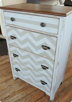 use a wide, short dresser - fatter chevrons and one color - alternate flat and glossy paint.