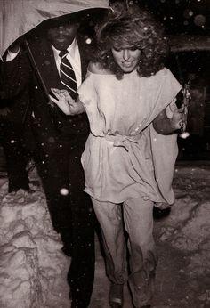 Farrah Fawcett going entering Studio 54.