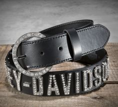 Because you were made to be in the spotlight. | Harley-Davidson Women's Crystal Lettered Belt