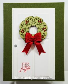 Heart's Delight Cards: CAS, Stampin' Up!, Letterpress Winter, Wreath, Christmas, Holiday
