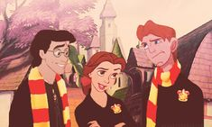heyfunniest:    If Harry Potter was made into a Disney movie: Harry (Eric), Hermione (Belle), and Ron (Hercules) in Hogsmeade