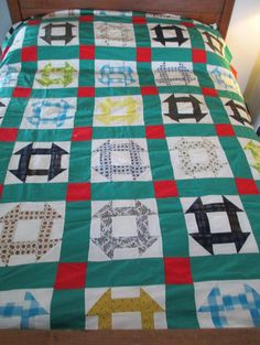 Vintage Quilt Top Handstitched Churn Dash Monkey by AStringorTwo, $58.00