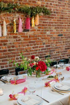 colorful wedding reception, photo by Love Katie and Sarah http://ruffledblog.com/a-brooklyn-wedding-for-two-actors #weddingreception #weddingideas