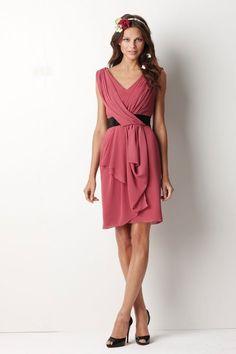 V-neck A-line with sash chiffon bridesmaid dress $172.00