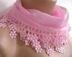 Elegance Pink Shawl / Scarf with Lacy Edge by womann on Etsy, $13.50