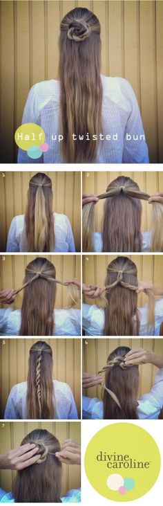 This half-up twisted bun is perfect for many different lengths of hair. #hairhelp #updo #braid #twist