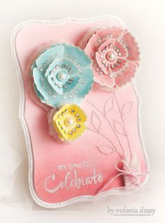 Cheerfully vibrant, sweet card with such delightful dimensional flowers. #cards #scrapbooking #flowers #handmade #card_making #crafts #pink