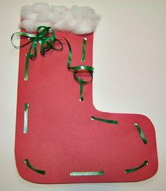 Christmas Stocking Lacing Craft from Kiboomu
