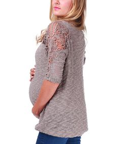Take a look at this Mocha Crocheted Sleeve Maternity Sweater by PinkBlush Maternity on #zulily today!