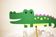 Alligator Crocodile Jungle Animal Cupcake by Foolishworkerbee, $8.00