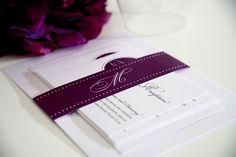 Purple Wedding Invitations - Circle Monogram Sample on Etsy, $6.50