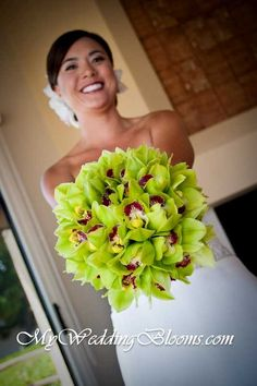 Green orchid wedding bouquet