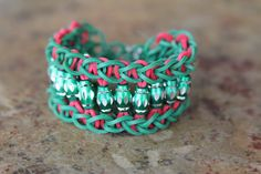 Friendship Bracelet Red and Green beaded rubberband  by JJJCrafts, $5.50