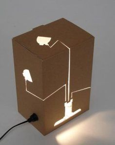 re-utilizar lights, lamps, lamp design, craft, idea, cardboard boxes, cardboard lamp, box lampreflect, diy
