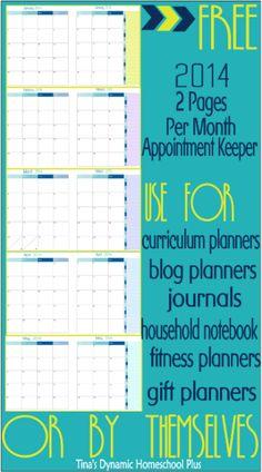 printable calendar pages 2014, free planner, diy planner printables, homeschool curriculum, diy calendar planner, homeschool organ, free printabl, calendar pages 2014 free, calendar free