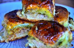 Game Day Turkey, Pesto, Onion & Cheese Poppyseed Sliders from @Sandy Coughlin | www.Reluctant Entertainer.com