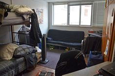 This is a room in Saint Benilde Hall, the freshman men's residence hall.