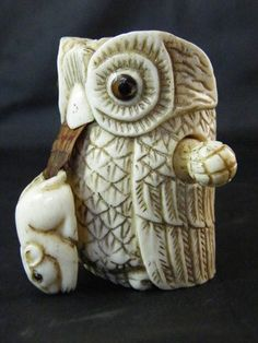 Carved Owl with Mouse Sewing Tape Measure