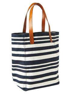 Cute striped navy and white tote bag. Very affordable.  Would make a good beach bag.