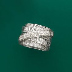 """""""Fabulous chunky ring gains lots of compliments!! Love this ring - wear on middle finger left hand and looks so good. I am now buying one for my sister!"""" – kirstie, Boston. Diamond Multi-Band Ring in Sterling Silver. >>Click on the pin to shop all our Cigar Band Rings. #chunky #ring #cigarband #bigring #rings #silver"""