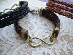 Infinity Leather Bracelet with Antique by UrbanSurvivalGearUSA, $26.99