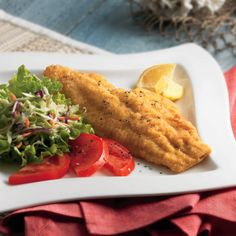 Put some Louisiana flavors in your dinner with this traditional Mardi Gras dish. dinner, bay catfish, fish fry, seafood dish, bays, bell peppers, seafood recip, catfish fri, onion