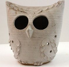 Vintage Owl Pottery Mid Century Candle Holder Signed Huber