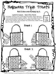 A NO PREP Print and Play game from Halloween Math Games Third Grade by Games 4 Learning - bring some Halloween fun into the classroom.  $