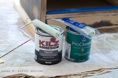 The new KILZ Adhesion is a latex primer that you can use on slick high gloss surfaces instead of an oil based primer. No oil based cleanup!  sarah m. dorsey designs