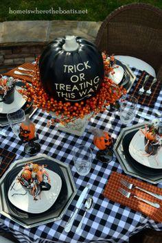 holiday, table settings, halloween pumpkins, halloween tablescap, halloweentablescap, boat, dish towels, halloween ideas, treat