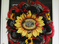 Natures Gathering Whimsical Sunflower Mesh Wreath