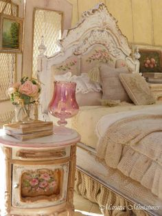 Romantic Shabby & Vintage - interesting use of textures. Look at the pink roses on the upholstered headboard.