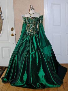 Miranda Medieval Corset Gown Silk and Chiffon by RomanticThreads,